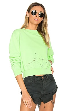 The Milan Cropped Sweatshirt in Lime Destroyed