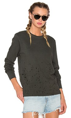 COTTON CITIZEN Malibu Crewneck Sweatshirt in Military Destroyed