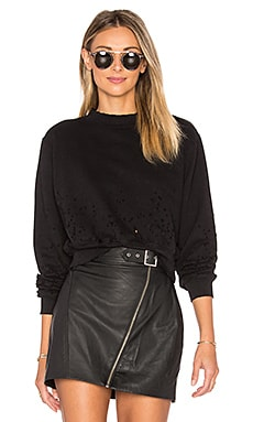 The Milan Cropped Sweatshirt en Jet Black Destroyed
