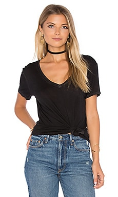Mykonos V Neck Tee in Vintage Black