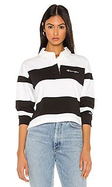 Small Script Striped Polo Shirt Champion $80