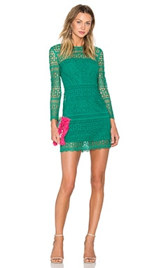 Patchwork Lace Shift Dress in Emerald