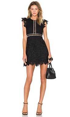 Wild Flower & Geo Lace Mini Dress en Noir