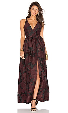 Jacquard Lace Gown in Black & Burgundy