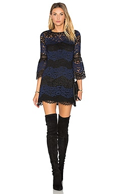 Striped Lace Mini Dress in Black & Navy