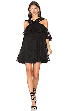 Lace Cold Shoulder Mini Dress in Black