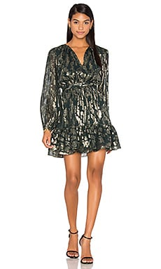 Metallic Boho Dress in Forest Green
