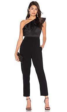Satin Ruffle Jumpsuit in Black