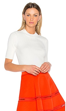 Ribbed Knit Top en Blanc Optique