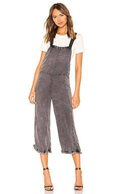 Cross Back Cropped Culotte Overalls with Frayed Edge Chaser $61