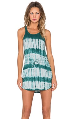 Chaser Tie Dye Shirtail Mini Dress in Frond