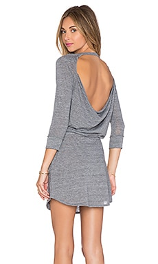 Chaser Drape Back Shirttail Pocket Dress in Streaky Grey