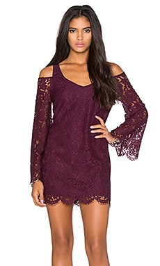 Chaser Open Back Bell Sleeve Mini Dress in Cabernet