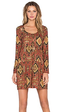 Chaser Long Sleeve Boho Mini Dress in Vintage Tapestry