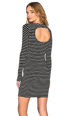 Chaser Striped Open Back Long Sleeve Dress in Black & White
