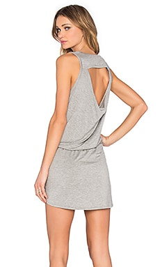 Drape Back Drawstring Mini Dress in Heather Grey