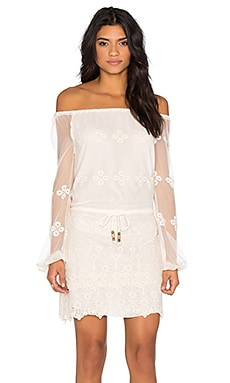 Vintage Lace Off Shoulder Long Sleeve Mini Dress in Alabaster