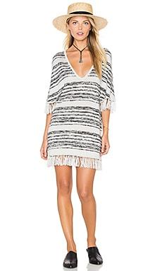Chaser Fringe V-Neck Sweater Dress in Smoky Raven