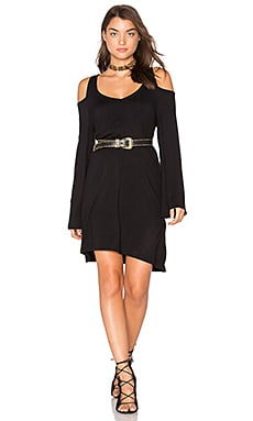 Double V Cold Shoulder Mini Dress in Black
