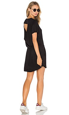 Drape Back Pocket Mini Dress in Black