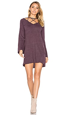 Bell Sleeve Strappy Mini Dress in Sangria