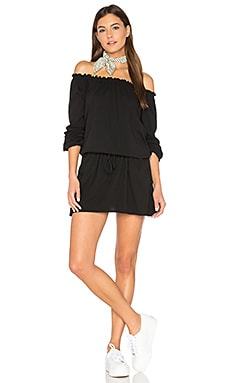 Off Shoulder Shirred Mini Dress in Black