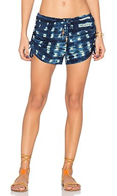 Drawstring Gathered Shorts en Indigo Tie & Dye