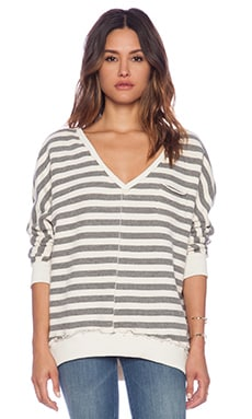 Chaser V Neck Striped Dolman in Charcoal