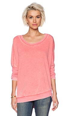 Chaser Drape Back Pullover in Coral Pink