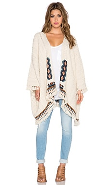 Chaser Fringe Kimono Sweater in Campfire