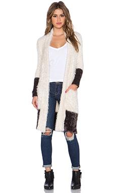 Chaser Shawl Collar Long Cardigan in Vanilla