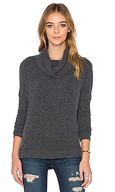 Chaser Drape Back Cowl Neck Dolman Sweater in Black