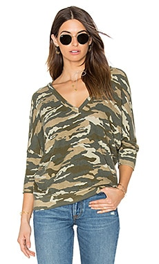 Double V-Neck Sweater in Camo