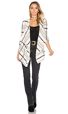 Drape Front Cardigan in Plaid Cable Knit