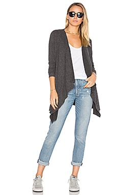 Drape Front Open Cardigan in Black