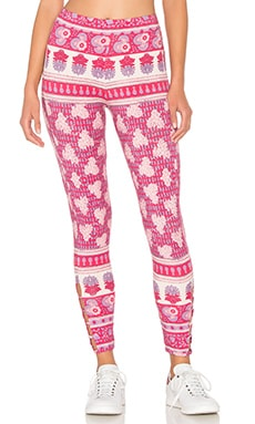 Chaser Printed Side Strip Legging in Pink Sarong
