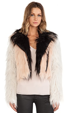 Chaser Colorblocked Faux Fur Moto Jacket in Petal, Swiss Coffee & Black