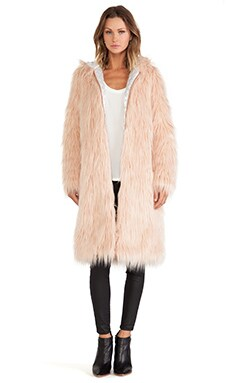 Chaser Hooded Faux Fur Coat in Solid Petal