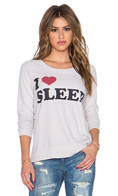 Chaser I Heart Sleep Sweatshirt in Antique White