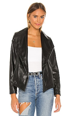 Matte Vegan Leather Drape Front Jacket Chaser $99 NEW