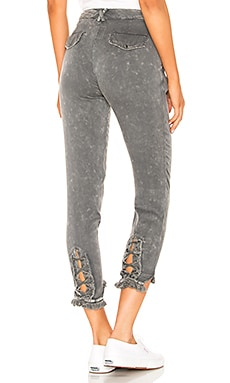 Lace Up Pant with Frayed Edge Chaser $48