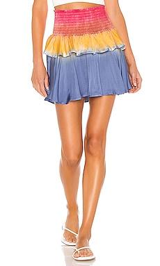 Silky Basics Smocked Flouncy Tiered Mini Skirt Chaser $84