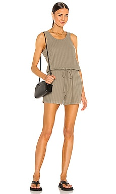 Poor Boy Rib Double Scoop Tank Romper Chaser $88
