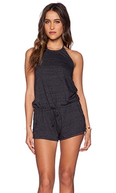Chaser Halter Drape Back Romper in Black