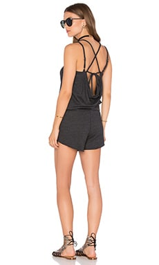 Chaser Strappy Drape Back Romper in Black