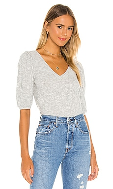 Cropped 3/4 Puff Sleeve V Neck Top Chaser $64 BEST SELLER