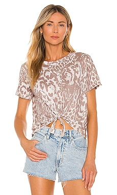 Linen Jersey Cropped Short Sleeve Tie Front Tee Chaser $23 (FINAL SALE)