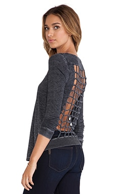 Chaser Tri-Blend Knot Back Long Sleeve Tee in Black