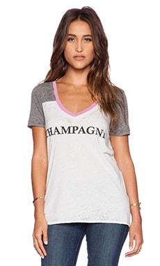 Chaser Team Champagne V Neck Tee in Heather Grey & White
