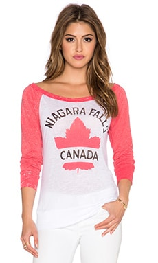 Chaser Niagara Falls Long Sleeve Tee in White & Red